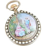 Victorian Lovers, Enamel and Pearlized Glass Ladies Pocket Watch