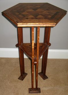 Antique An Arts And Crafts Hexagonal Table Hall Tables, Craftsman Furniture, Arts And Crafts, Woodworking, Antiques, Home Decor, Antiquities, Antique, Decoration Home