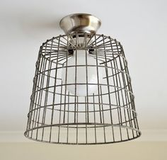 Wire Tapping: DIY Basket Ceiling Lamp The Painted Hive | Apartment Therapy