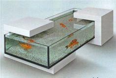Inspiring 55 Original Aquariums In Home Interiors : 55 Original Aquariums In Home Interiors With White Glass Chair With Aquarium On Them