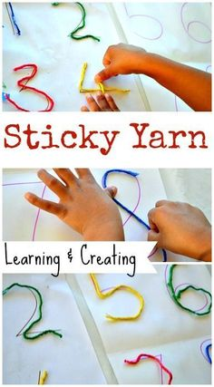 Easy fine motor activity: Learn and create with sticky yarn! Great preschool math activity.