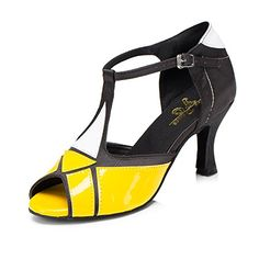 CRC Womens Stylish Peep Toe TStrap Yellow PU Color Block Ballroom Morden Tango Party Wedding Professional Dance Sandals 105 M US >>> Details can be found by clicking on the image.