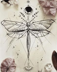 geometric drawings, insect, moon, sun and stars, ancient symbols tatoo feminina - tattoo feminina de Dragonfly Tattoo Design, Tattoo Designs, Dragonfly Drawing, Dragonfly Art, Butterfly Design, Sternum Tattoo Design, Art Designs, Body Art Tattoos, Tattoo Drawings