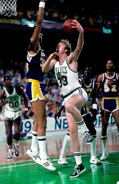 Larry Bird and Kareem Abdul Jabbar (Los Angeles Lakers)