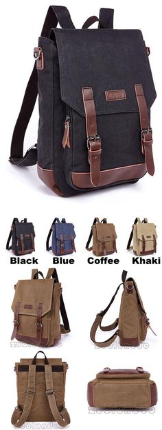 2809bb7fd0 See more. Which color do you like  Retro Laptop Bag School Canvas Backpack  Splicing PU Belts Flap