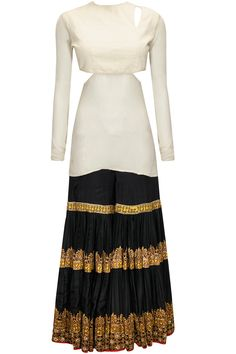 Ivory and black embroidered sharara set with olive embellished dupatta available only at Pernia's Pop-Up Shop.