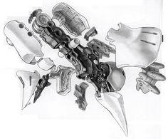 Qubeley Leg Cut Away. Cool Sketches, Cool Drawings, Robots Drawing, Mecha Suit, Japanese Robot, Robot Illustration, Zeta Gundam, Gundam Art, Sci Fi Characters