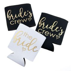"""Our """"bride's crew"""" koozies are perfect for the bachelorette party, bridal shower, rehearsal dinner, or wedding! Gorgeous gold metallic print. Pairs perfectly with our matching bride koozie, and groom"""