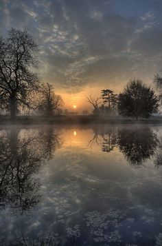 Winter Sunset and Reflection