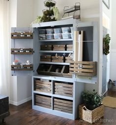 Free Standing Pantry With Crate Organization