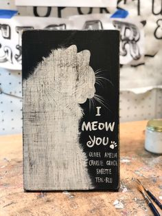 I Meow You Personalized Cat Sign Cat Quotes, Animal Quotes, Wood Block Crafts, Wood Cat, Mama Cat, Cat Signs, Cat Character, Pets 3, Cat Room