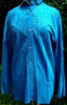 a2100d7eb151b Sapphire Blue Suede Butter Soft Rhinestones Western Cut Pearl Snap Buttons  Medium Shirt or Light Ja