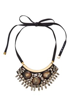 Horn and Crystal Necklace in Gray by Marni - Moda Operandi
