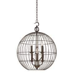 """$300.  20"""" wide. 26"""" high.  Industrial cage pendant light. Umber bronze finish. Includes 6 feet chain, 12 feet wire. Takes six 60 watt candelabra bulbs (not included).  Canopy is 5 1/4"""" wide. Hang weight 11 lbs. Chandeliers By LampsPlus.com"""