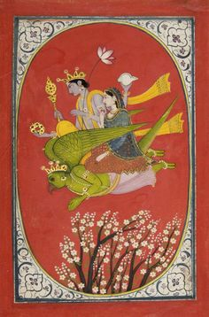 Vishnu and Lakshmi Flying Upon Garuda.  Possibly made in Kangra, Himachal…