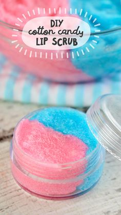 How to make DIY Lip Balm Sugar Scrub.  This Yummy Cotton Candy Flavored Lip Scrub is full of moisturizing properties to get your lips into shape!  Plus it is a great craft for girls - perfect for parties and gift giving occasions!