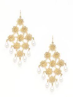 Gold & Pearl Daisy Chandelier Drop Earrings