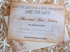 Vintage Alice In Wonderland Wedding SAVE THE DATE by ifiwerecards, $32.00