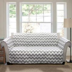Until I can get a new couch... Chevron Furniture Protectors Gray/ White Sofa - Sears