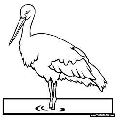 oriental stork online coloring page
