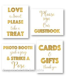 Printable Gold Foil Party Signs  DIY Wedding Signs  by PergolaArt