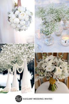 white and greens sparkle winter wedding flowers for 2014 trends #winterweddingflowers #weddingbouquets #elegantweddinginvites