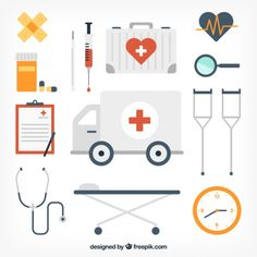 Medical equipment icons Free Vector