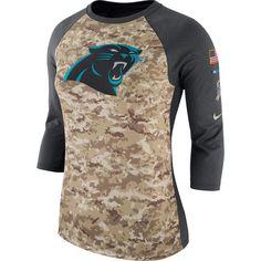 Women s Carolina Panthers Nike Camo Charcoal Salute to Service Legend  Three-Quarter Raglan Sleeve f503b8564