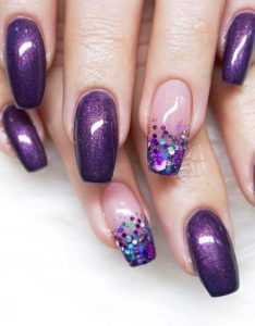 18 Stunning Purple Nail Arts & Designs in 2019 is part of Cute Acrylic nails Bling - Try our cutest trends of purple nail arts and designs so that you may get fresh hands' look and gorgeous personality in year 2019 Purple Nail Art, Purple Nail Designs, New Nail Designs, Purple Gel Nails, Purple Wedding Nails, Purple Pedicure, Violet Nails, Gorgeous Nails, Pretty Nails
