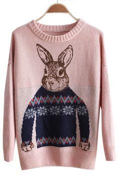 Pink Batwing Long Sleeve Rabbit Print Sweater