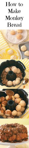 How to Make Monkey Bread from Taste of Home :: Learn how to make perfect pull-apart monkey bread and find homemade monkey bread recipes.    http://pinterest.com/taste_of_home/