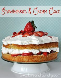 Fresh Strawberries and Cream Cake