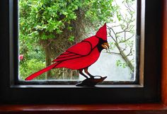 Stained glass Cardinal Bird suncatcher by CottageyCreations