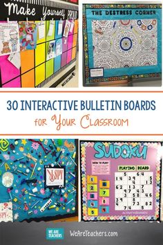 30 Interactive Bulletin Boards That Will Engage Students at Every Level. Bring your classroom walls to life with these interactive bulletin boards that invite students to engage, respond, play, and learn in a variety of ways. Camping Bulletin Boards, Calendar Bulletin Boards, October Bulletin Boards, Thanksgiving Bulletin Boards, Kindergarten Bulletin Boards, Interactive Bulletin Boards, Halloween Bulletin Boards, Back To School Bulletin Boards, Classroom Bulletin Boards