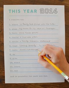 I love this resolutions printable, because you'll be prompted by action verbs that can inspire new resolutions. Source: Art Bar