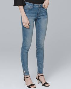fb6bc4ca0fd Women s Mid-Rise Faux Pearl-Trim Skinny Crop Jeans by White House Black  Market