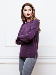 Women's Raglan Sweater in Purple / Soft Goat AW16