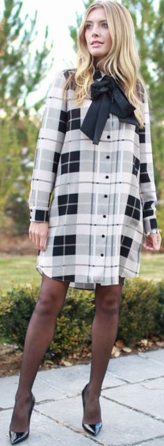 Black And White Plaid Shirt Dress With A Bow Fall Street Style Inspo by Bird a la mode