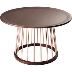 With sleek and slim shiny copper poles holding up a smooth, walnut grain table top, the Bailey Coffee Table is a unique accent in any room. The combination of these industrial and contemporary materia
