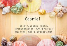 "A name for a baby boy. Gabriel originates in Hebrew language and means ""God's bravest man'. It has been used as a masculine given name over centuries, and in different spellings all over the world. In the Bible, Gabriel is an Archangel, a messenger between God and humans. Gabriel functions as a surname as well, the famous bearer being Peter Gabriel, an English musician. #Qulbabynames"