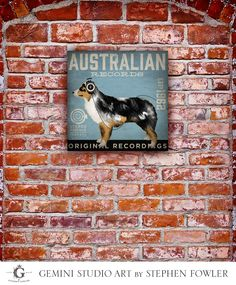 Australian Shepherd Records music Company graphic illustration on gallery wrapped canvas by stephen fowler by geministudio on Etsy https://www.etsy.com/listing/162164077/australian-shepherd-records-music