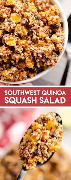 Southwest Quinoa Squash Salad is a spicy and healthy side dish with black beans, roasted butternut squash and a homemade Greek yogurt dressing bursting with flavor. #ButternutSquash #Quinoa #SaladRecipe