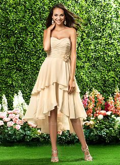Bridesmaid Dresses - $109.69 - A-Line/Princess Strapless Sweetheart Asymmetrical Chiffon Bridesmaid Dress With Ruffle Flower(s) (00705028192)
