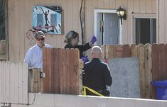 Authorities are seen here at the home where police said a man fatally shot his wife and three of their four children, before turning the gun on himself Saturday morning in San Diego 3 Kids, Children, Daily Mail News, Farm Hero Saga, Saturday Morning, Turning, San Diego, Gun, Police