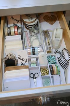 Creative Drawer Organizing Tips and Products - Kleiderschrank ideen - Creative Drawer Organizing Tips and Products Gift warp and stationary drawer The post Creative Dr - Organisation Hacks, Craft Closet Organization, Stationary Organization, Organizing Tips, Study Desk Organisation, Refrigerator Organization, Clutter Organization, Study Room Decor, Cute Room Decor