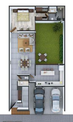 Amur - Wood Work Ideas & Most Popular Designs Minimalist House Design, Small House Design, Minimalist Home, Modern House Design, House Layout Plans, Dream House Plans, Small House Plans, Layouts Casa, House Layouts
