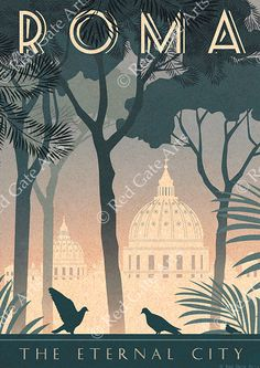 Rome Art Deco Poster Print Vintage Italy Vatican by RedGateArts