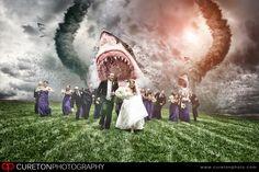 Sharknado Wedding Photo. #dinosaur wedding #sharkweek #shark wedding