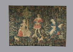 'Le Travail de la Laine' tapestry French 15c, whole view. Detail view also available showing box loom.