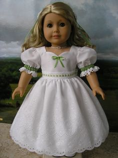 American Girl mid-1800s eyelet dress with Spring green trimmings. $78.00, via Etsy.